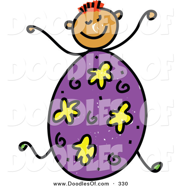 Vector Clipart of a Childs Sketch of a Happy Boy with an Easter Egg Body