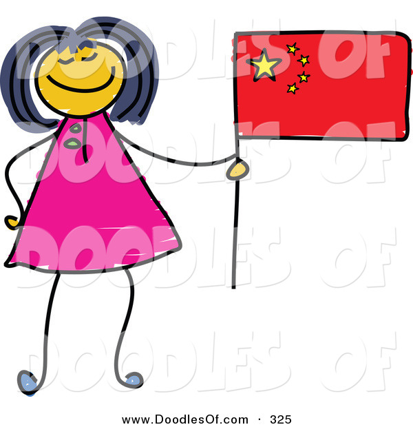 Vector Clipart of a Childs Sketch of a Happy Chinese Girl Holding a Flag