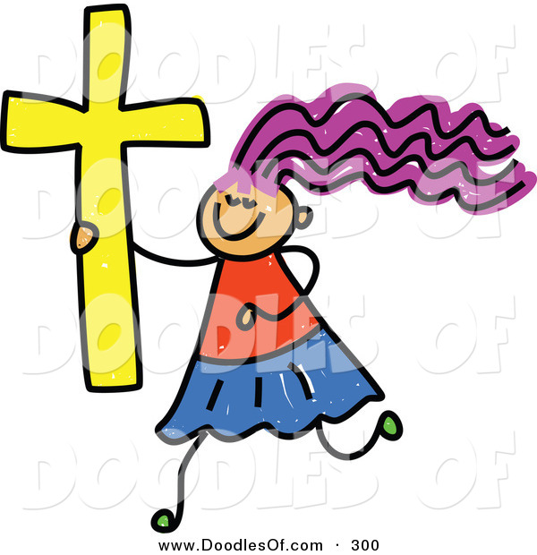 Vector Clipart of a Childs Sketch of a Happy Christian Girl