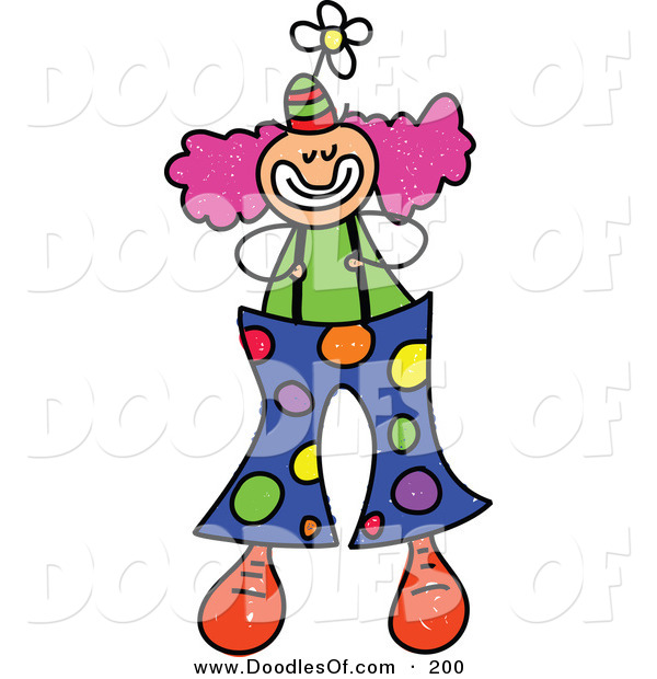 Vector Clipart of a Childs Sketch of a Happy Clown with Big Spotted Pants