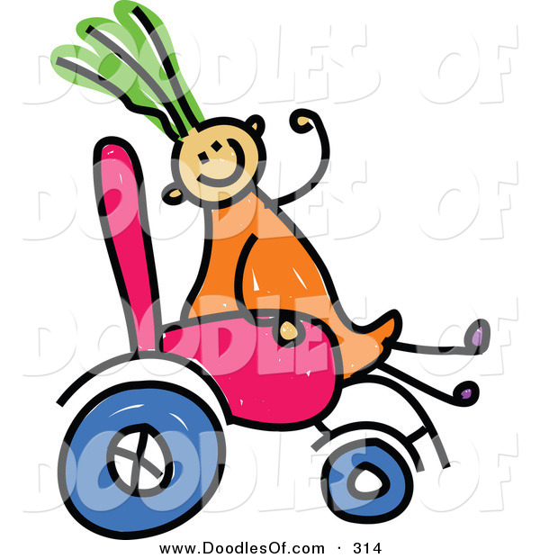 Vector Clipart of a Childs Sketch of a Happy Diabled Girl