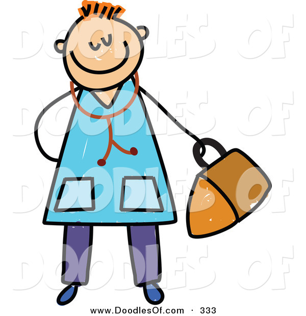 Vector Clipart of a Childs Sketch of a Happy Doctor