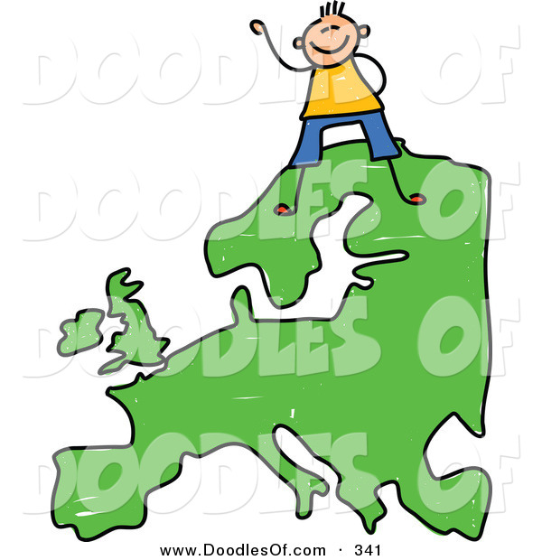 Vector Clipart of a Childs Sketch of a Happy European Boy Standing on a Map of Asia