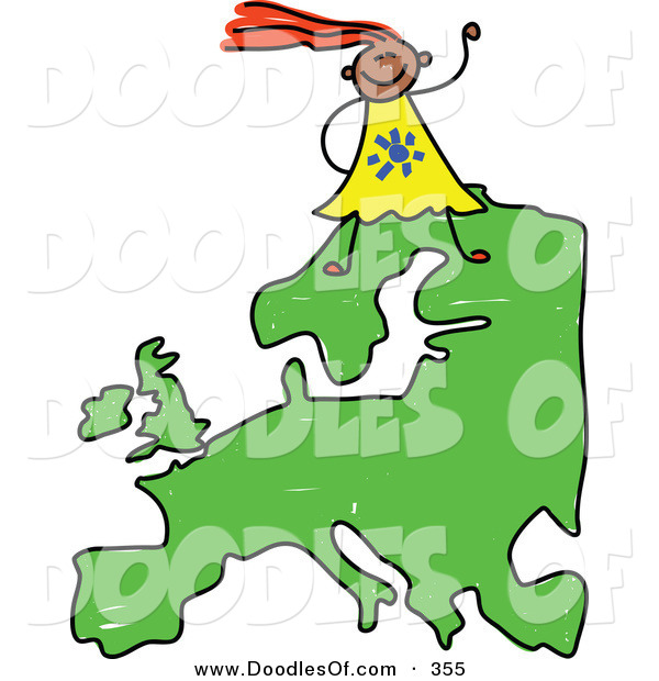 Vector Clipart of a Childs Sketch of a Happy European Girl on a Map of Europe