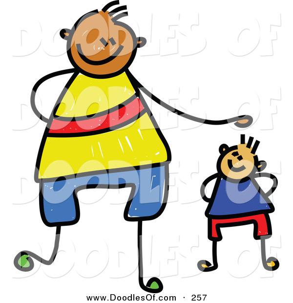 Vector Clipart of a Childs Sketch of a Happy Father and Son