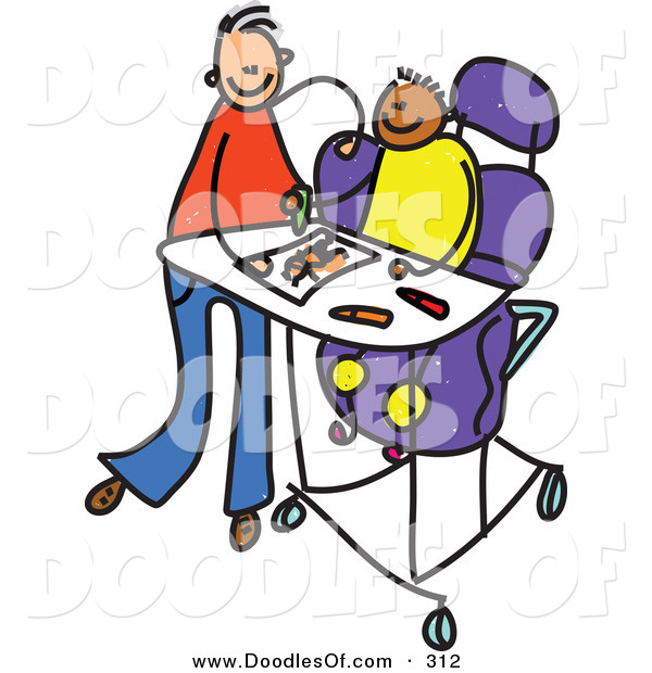Vector Clipart of a Childs Sketch of a Happy Father Feeding a Disabled Boy