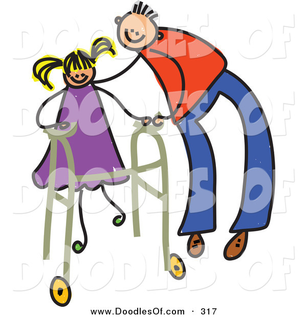 Vector Clipart of a Childs Sketch of a Happy Father Helping a Girl Use a Walker