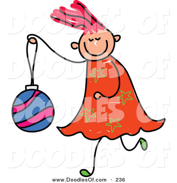 Vector Clipart of a Childs Sketch of a Happy Girl Carrying a Christmas Ball