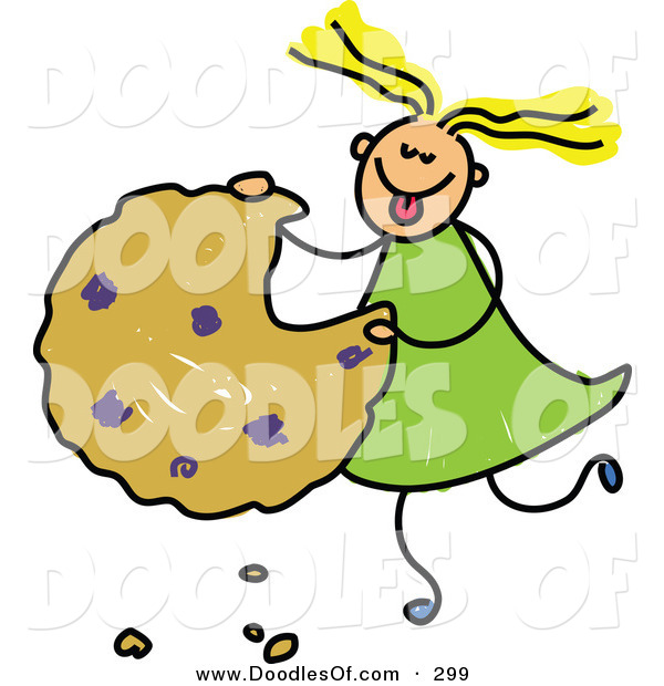 Vector Clipart of a Childs Sketch of a Happy Girl Eating a Giant Cookie