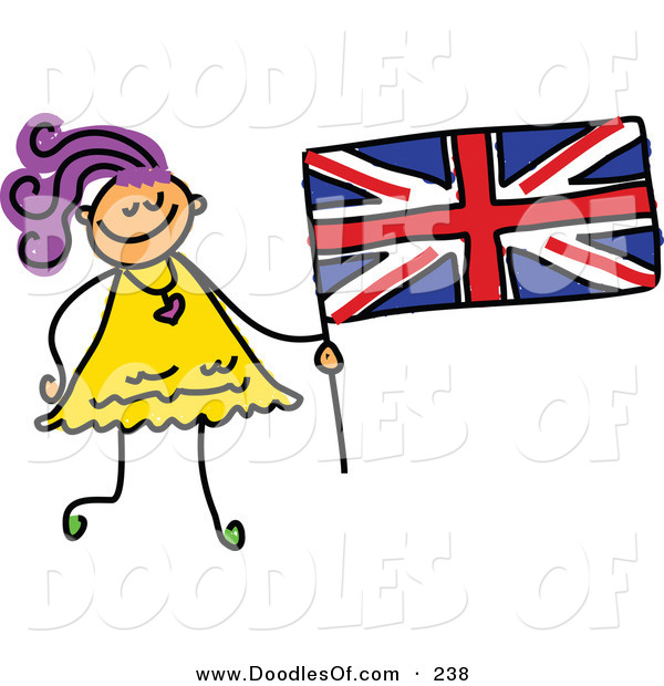 Vector Clipart of a Childs Sketch of a Happy Girl Holding a British Flag