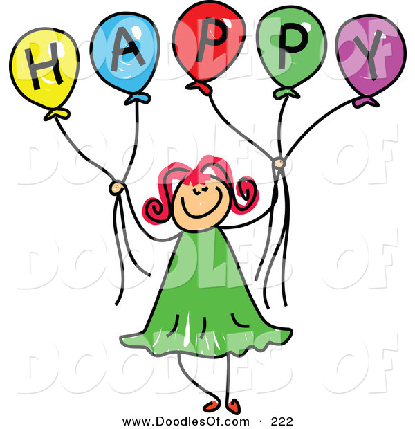 Vector Clipart of a Childs Sketch of a Happy Girl Holding Balloons Spelling Happy