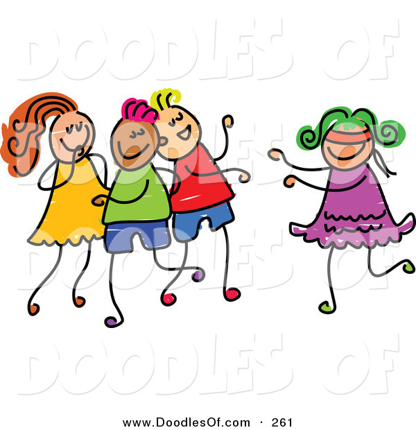 Vector Clipart of a Childs Sketch of a Happy Girl Playing Blind Mans Bluff