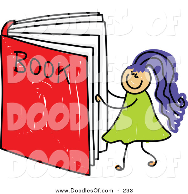Vector Clipart of a Childs Sketch of a Happy Girl Reading a Giant Book