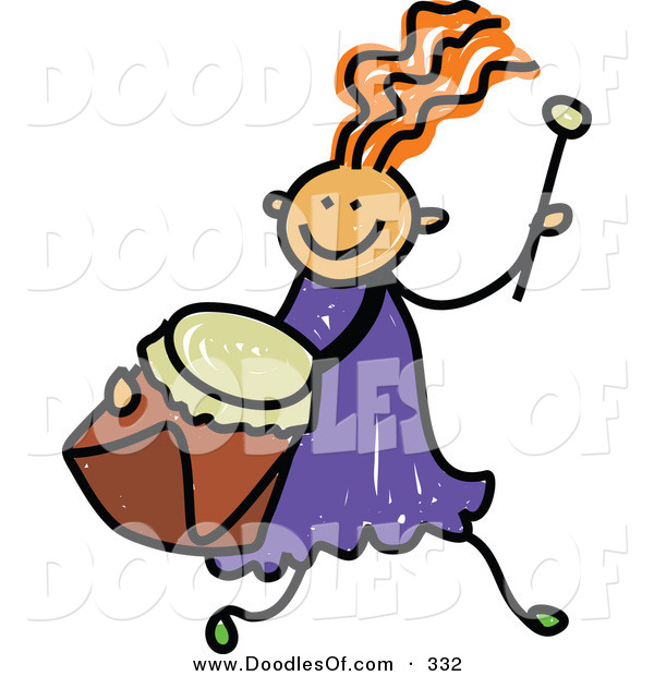 Vector Clipart of a Childs Sketch of a Happy Girl Running with a Drum