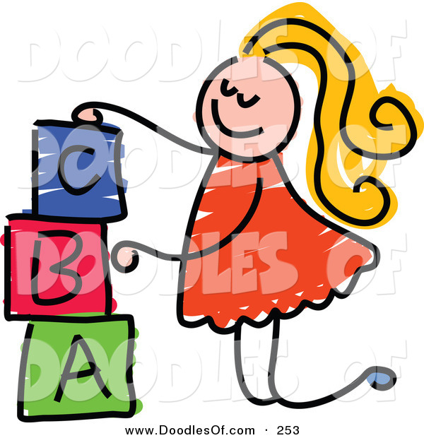 Vector Clipart of a Childs Sketch of a Happy Girl Stacking Letter Blocks