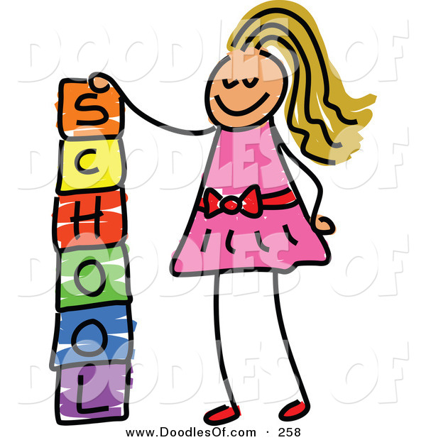 Vector Clipart of a Childs Sketch of a Happy Girl Stacking School Blocks