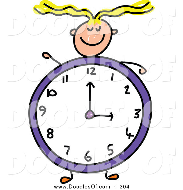 Vector Clipart of a Childs Sketch of a Happy Girl with a Clock Body