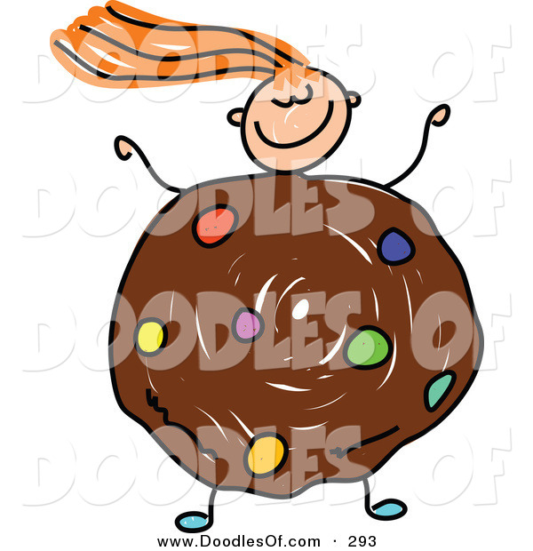 Vector Clipart of a Childs Sketch of a Happy Girl with a Cookie Body