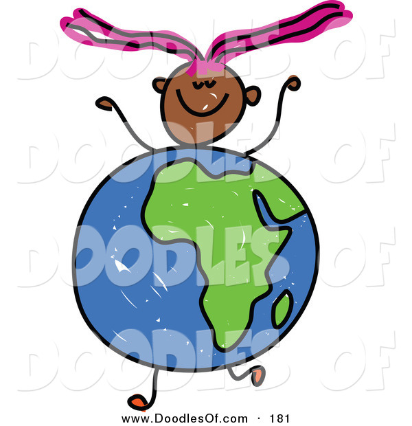 Vector Clipart of a Childs Sketch of a Happy Girl with an African Globe for a Body