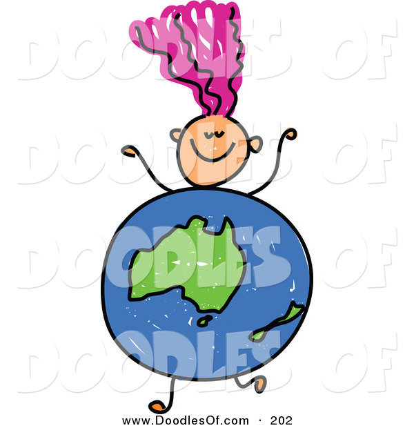 Vector Clipart of a Childs Sketch of a Happy Girl with an Australian Globe Body