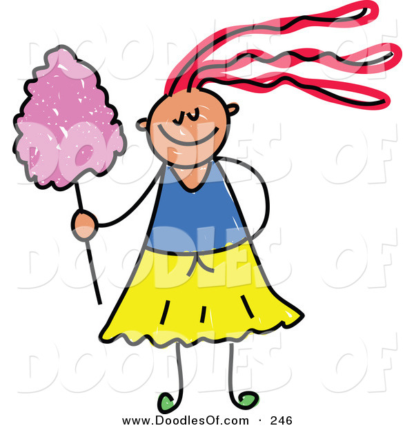 Vector Clipart of a Childs Sketch of a Happy Girl with Cotton Candy