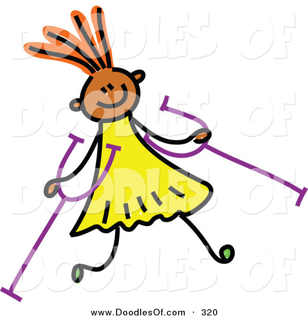Vector Clipart of a Childs Sketch of a Happy Girl with Crutches