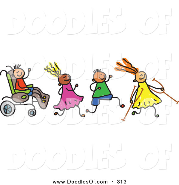 Vector Clipart of a Childs Sketch of a Happy Group of Disabled Kids on White