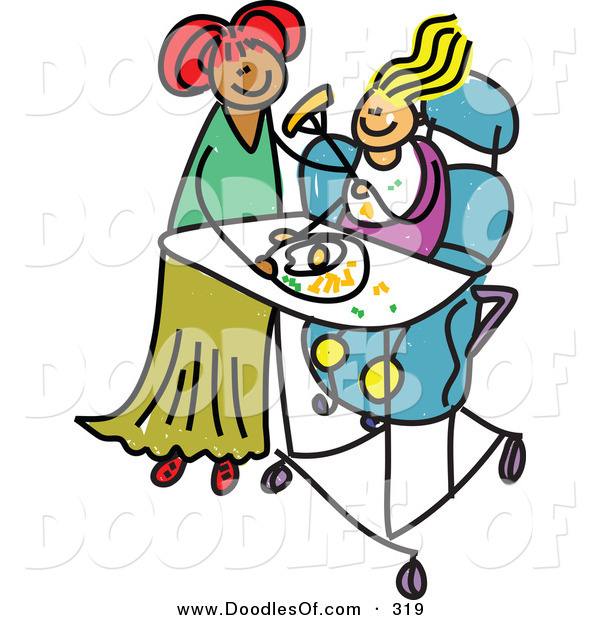Vector Clipart of a Childs Sketch of a Happy Mother Feeding Her Disabled Daughter