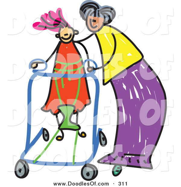 Vector Clipart of a Childs Sketch of a Happy Mother Helping Her Disabled Daughter