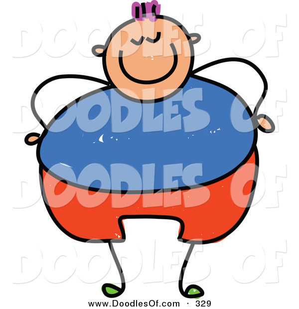 Vector Clipart of a Childs Sketch of a Happy Overweight Boy