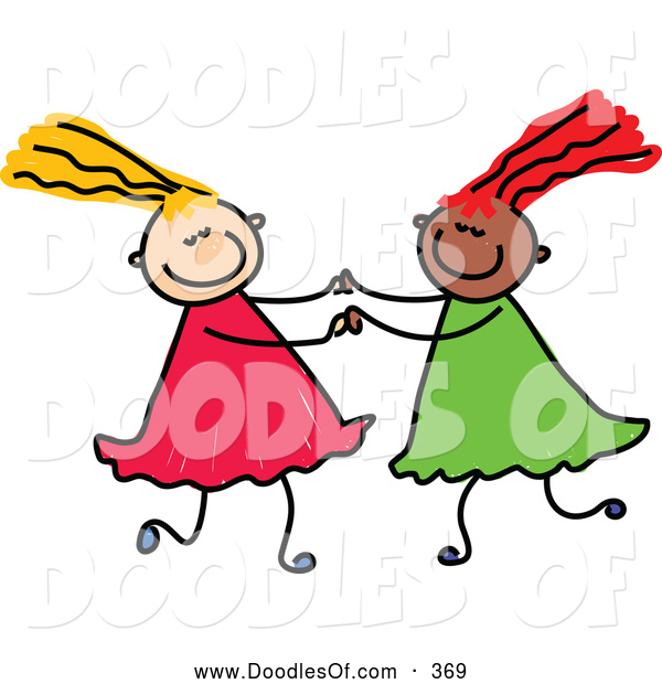 Vector Clipart of a Childs Sketch of a Pair of Girls Playing Together