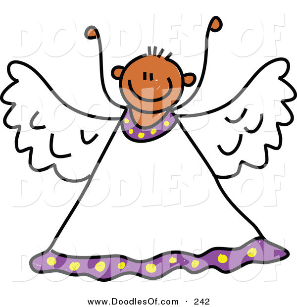 Vector Clipart of a Childs Sketch of a Peaceful Angel with His Arms up