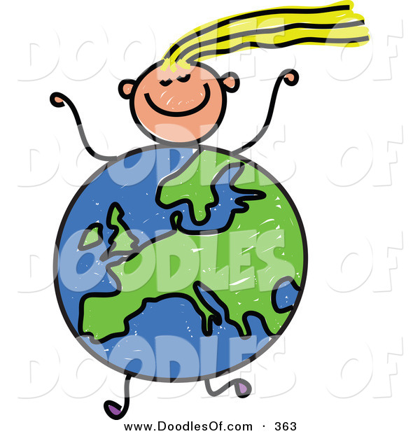 Vector Clipart of a Childs Sketch of a Running Girl with a European Globe Body