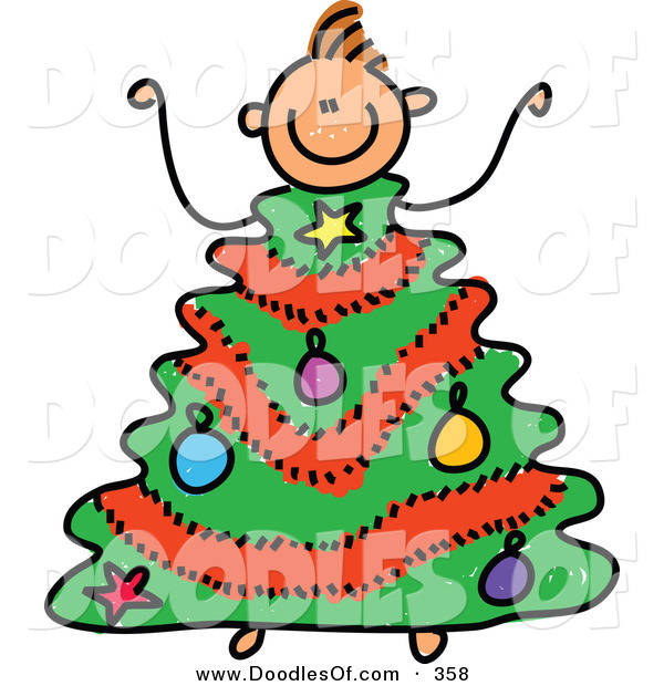 Vector Clipart of a Childs Sketch of a Small Boy with a Christmas Tree Body