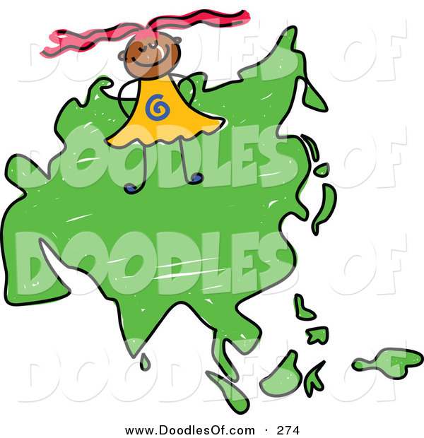 Vector Clipart of a Childs Sketch of a Smiling Asian Girl on a Map of Asia