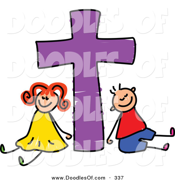 Vector Clipart of a Childs Sketch of a Smiling Boy and Girl with a Purple Cross
