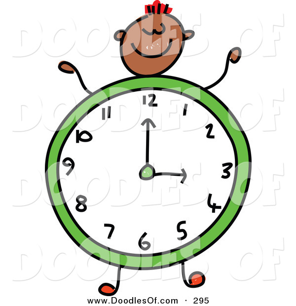 Vector Clipart of a Childs Sketch of a Smiling Boy with a Clock Body