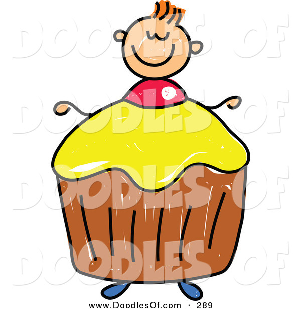 Vector Clipart of a Childs Sketch of a Smiling Boy with a Cupcake Body