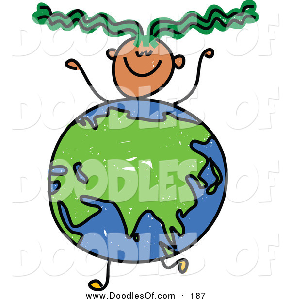 Vector Clipart of a Childs Sketch of a Smiling Boy with an Asian Globe Body