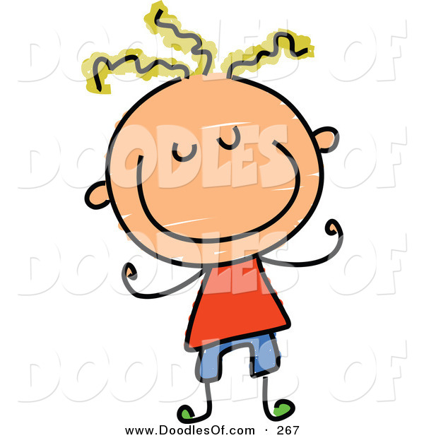 Vector Clipart of a Childs Sketch of a Smiling Boy with Blond Hair and a Big Smile