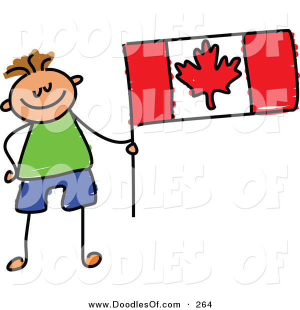 Vector Clipart of a Childs Sketch of a Smiling Canadian Boy with a Flag