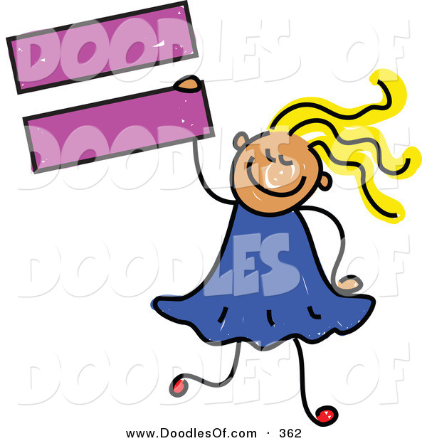 Vector Clipart of a Childs Sketch of a Smiling Child Girl Holding an Equal Sign