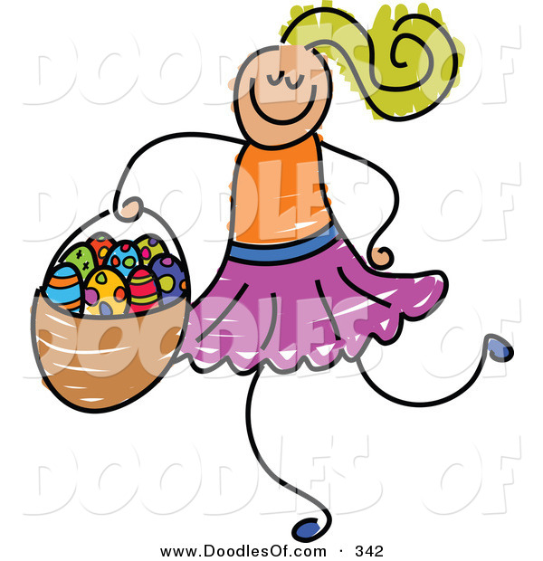 Vector Clipart of a Childs Sketch of a Smiling Girl Carrying an Easter Basket