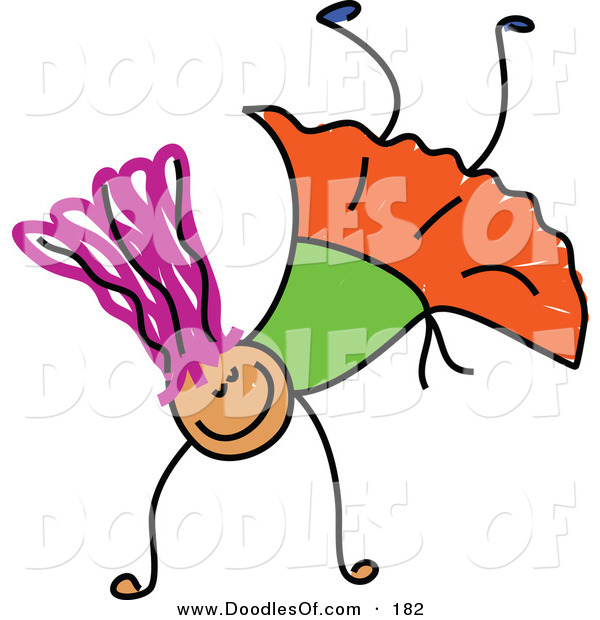 Vector Clipart of a Childs Sketch of a Smiling Girl Doing a Hand Stand