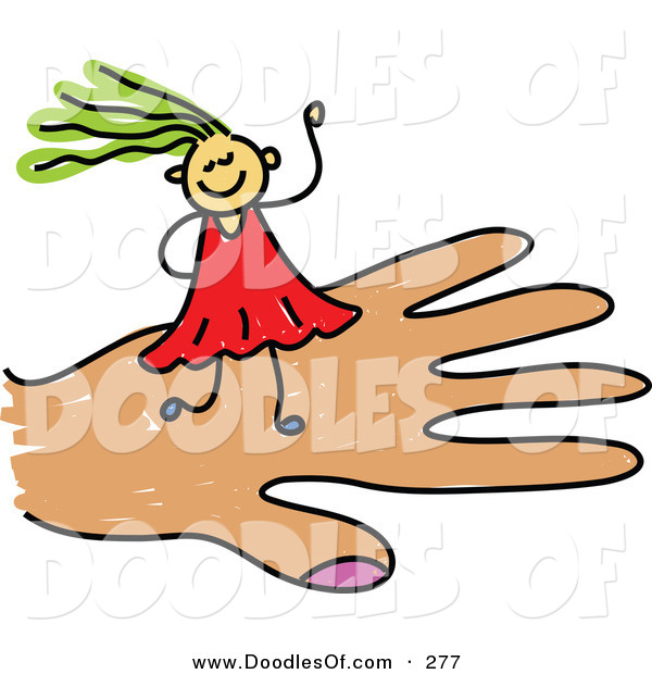 Vector Clipart of a Childs Sketch of a Smiling Girl on a Hand