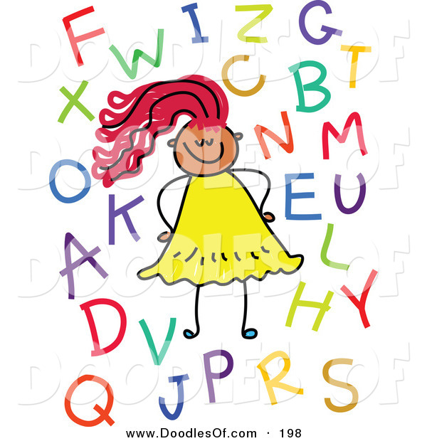 Vector Clipart of a Childs Sketch of a Smiling Girl with Letters