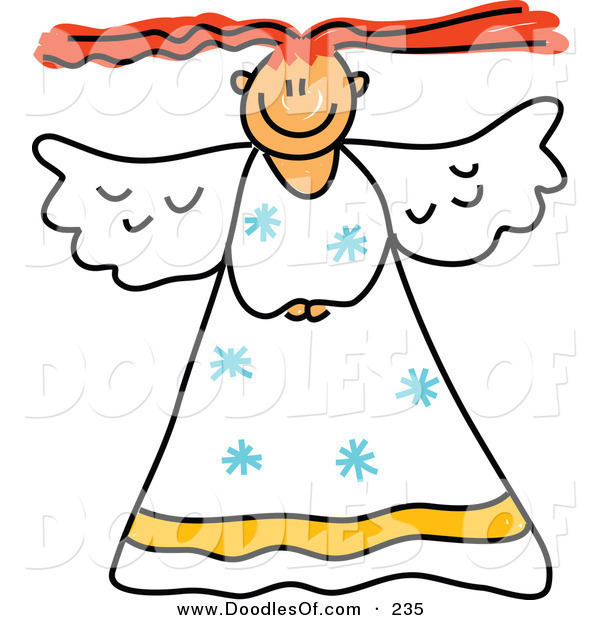 Vector Clipart of a Childs Sketch of a Smiling Peaceful Angel