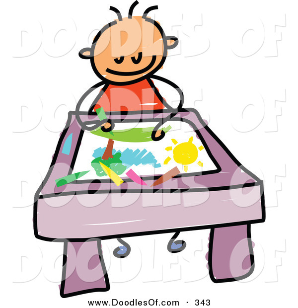 Vector Clipart of a Childs Sketch of a Smiling Toddler Boy Coloring a Picture