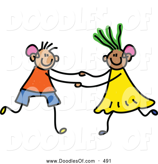 Vector Clipart of a Child's Sketch of a Stick Figure Boy and Girl with Hearing Aids