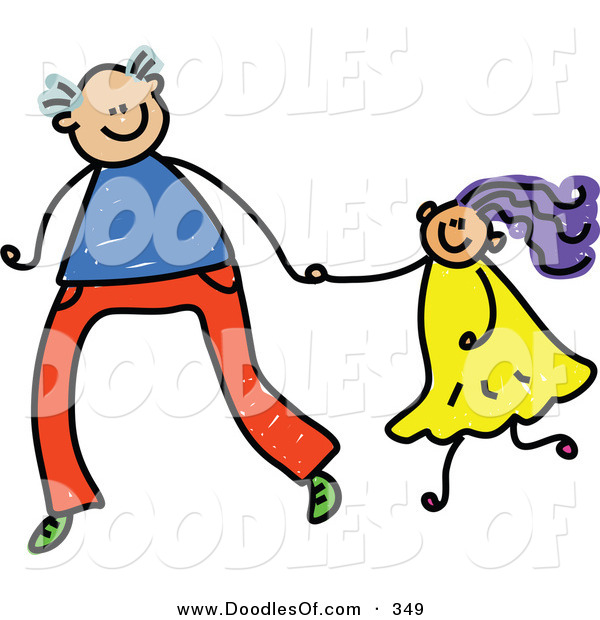 Vector Clipart of a Childs Sketch of a Tall Father Holding Hands with His Daughter